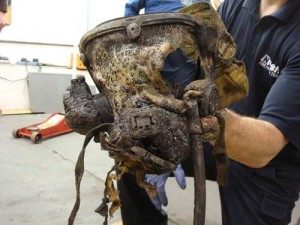 This is a face piece from an LODD where the face piece failed and the firefighter died from exposure to products of combustion - Photo Courtesy of NIOSH
