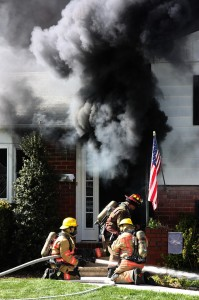 The initial attack line stretched at a structure fire is the key to saving lives.  Photo Courtesy: Bryan T Smith
